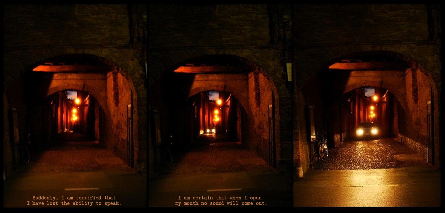 car headlights approach in a dark alley