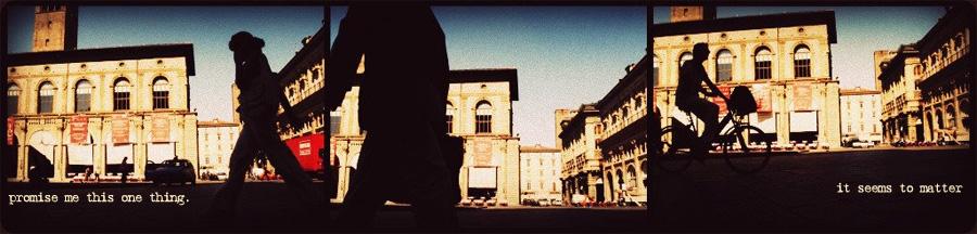 silhouettes in bologna piazza