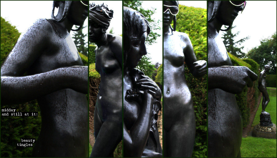 statues in the garden with attitude in the rain